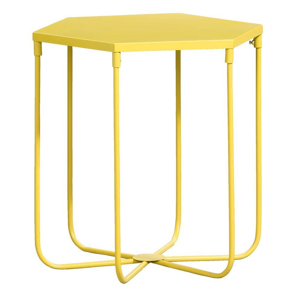 Bijzettafel Lund - geel - 45x45x39 cm - Leen Bakker