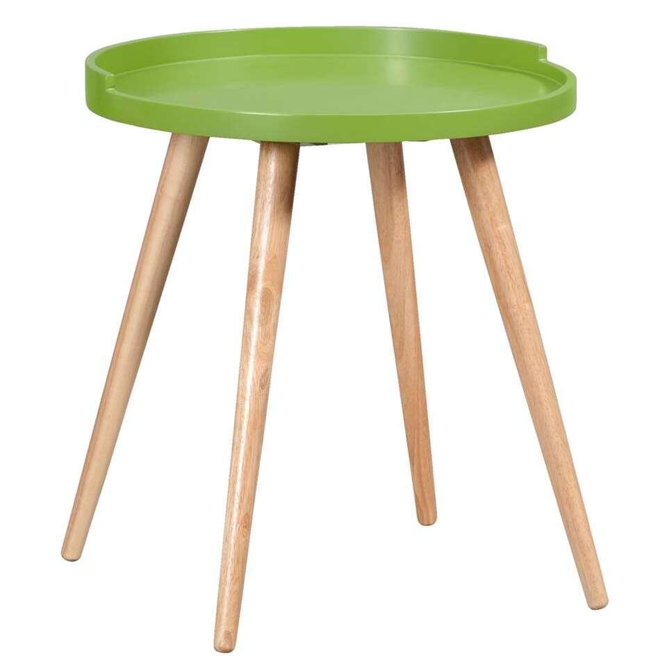 Bijzettafel Faaborg - groen/naturel - 50xØ45 cm - Leen Bakker