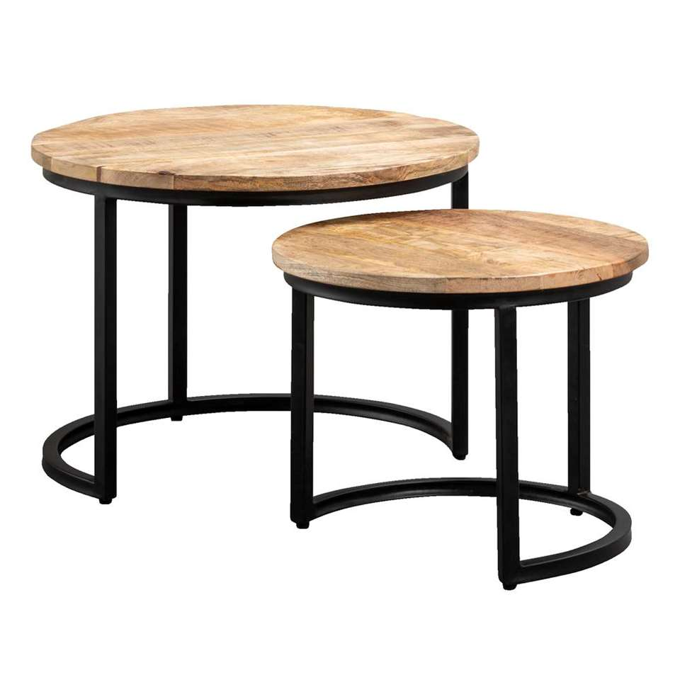 Set van 2 bijzettafels Toon - naturel/zwart - mangohout