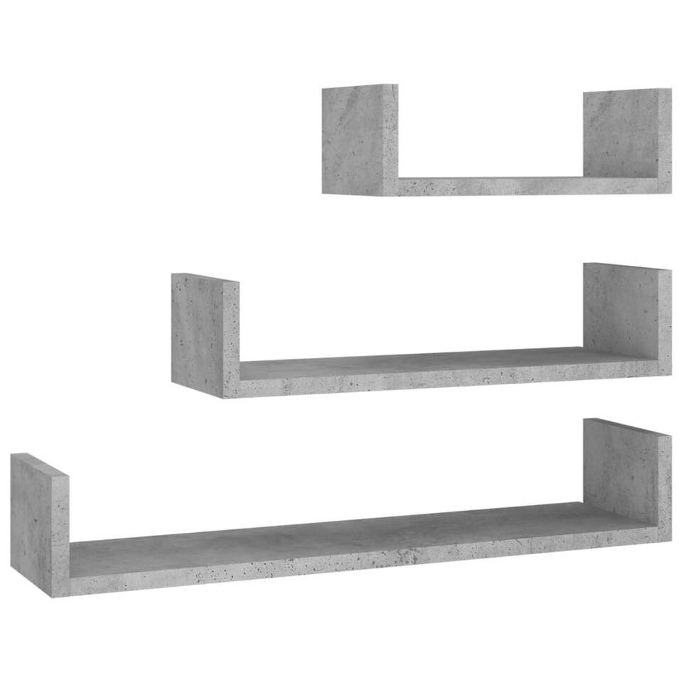 VIDAXL - Wandschappen - 3 st - spaanplaat - betongrijs