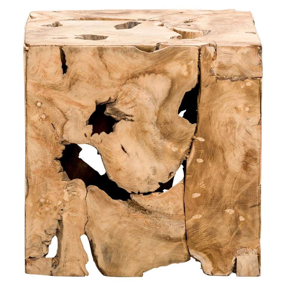 Decoratief blok naturel teak Luuk - bruin - 37x37x37 cm - Leen Bakker