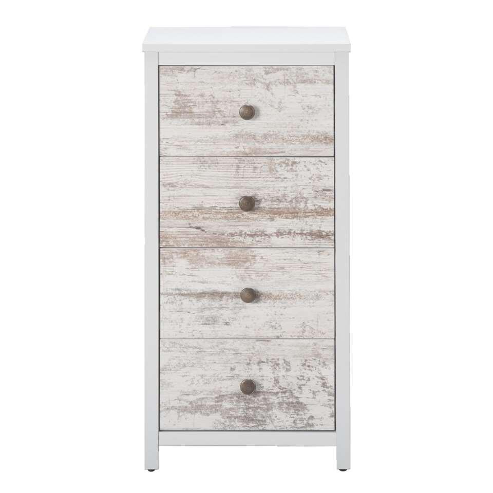 Kast Menno is een wit kastje van steigerhoutlook met 4 lades. Dit kastje heeft een eigentijdse en stoere look. Zet dit praktische kastje in de gang, de woonkamer of de slaapkamer.