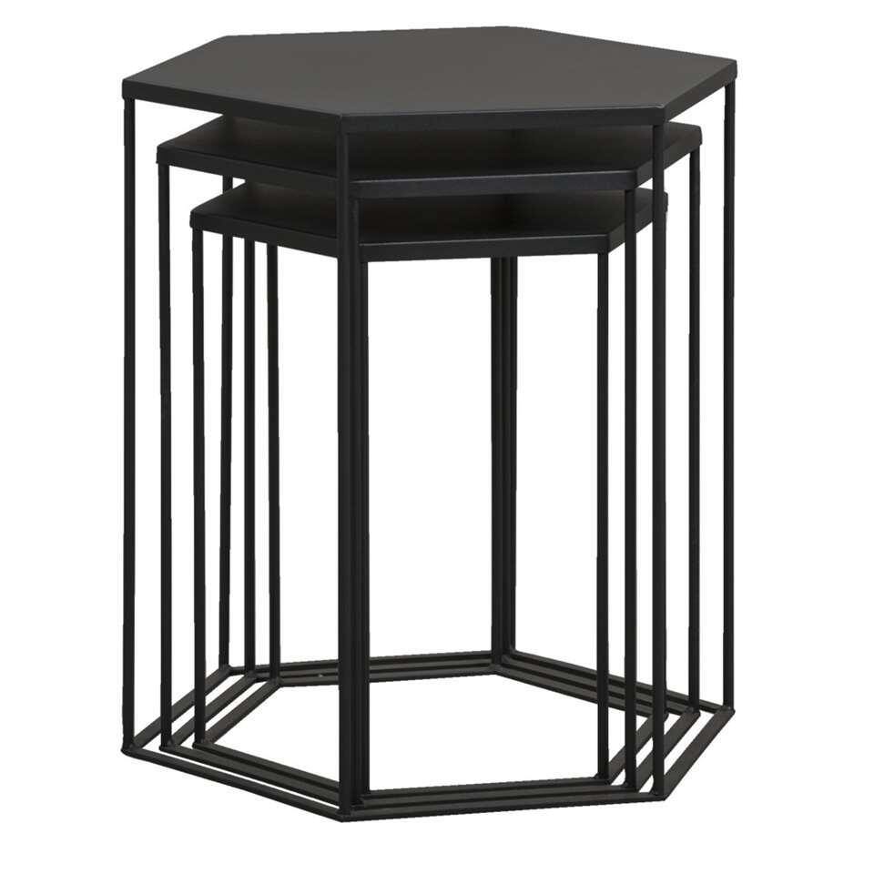 Bijzettafel Bologna - zwart - set van drie - 50,5x45,5x40 cm - Leen Bakker