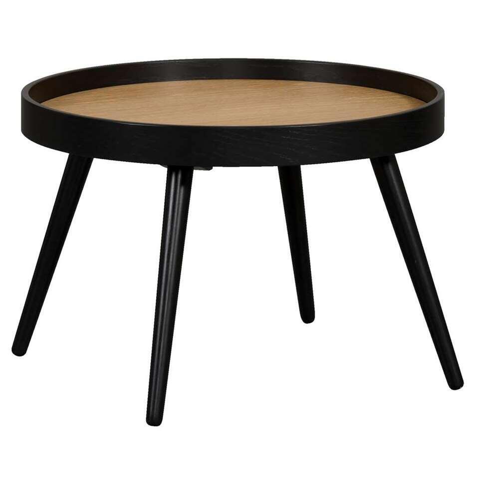 Salontafel Amsterdam - zwart/eikenkleur - 37xØ55 cm - Leen Bakker