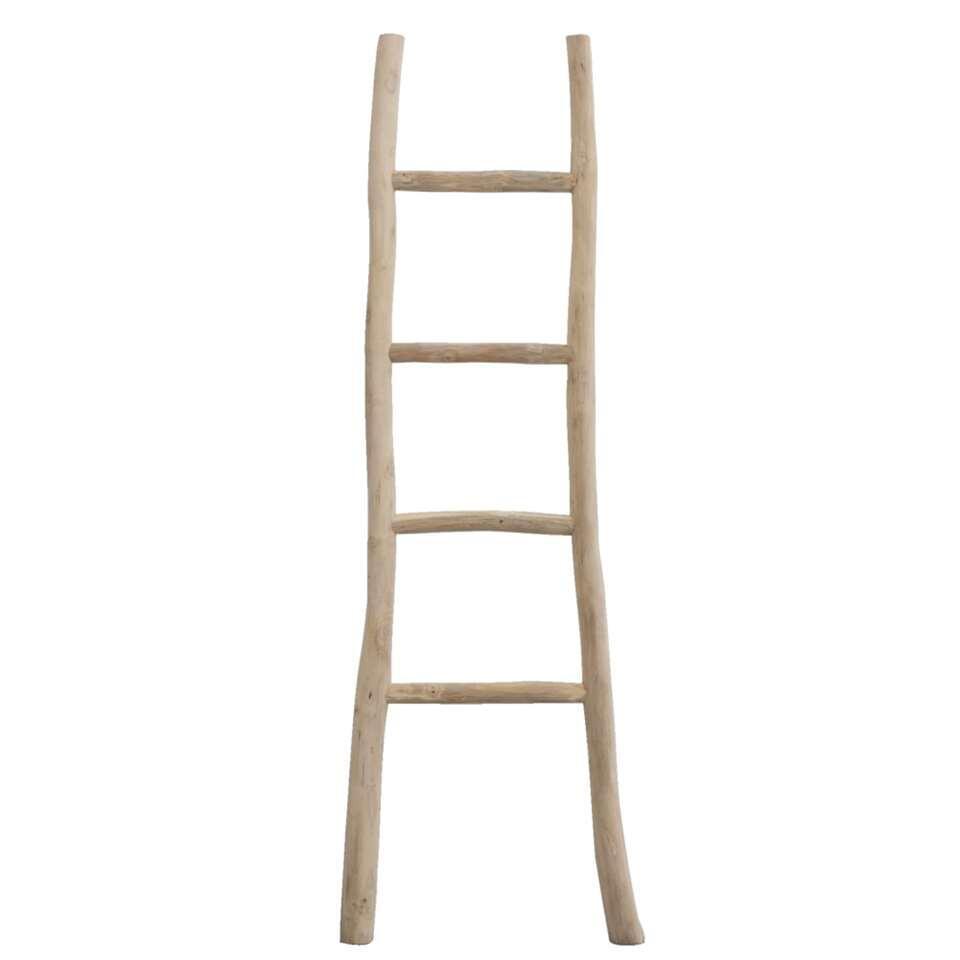 Decoratieve ladder Roel - teakkleur - 160x55x5 cm