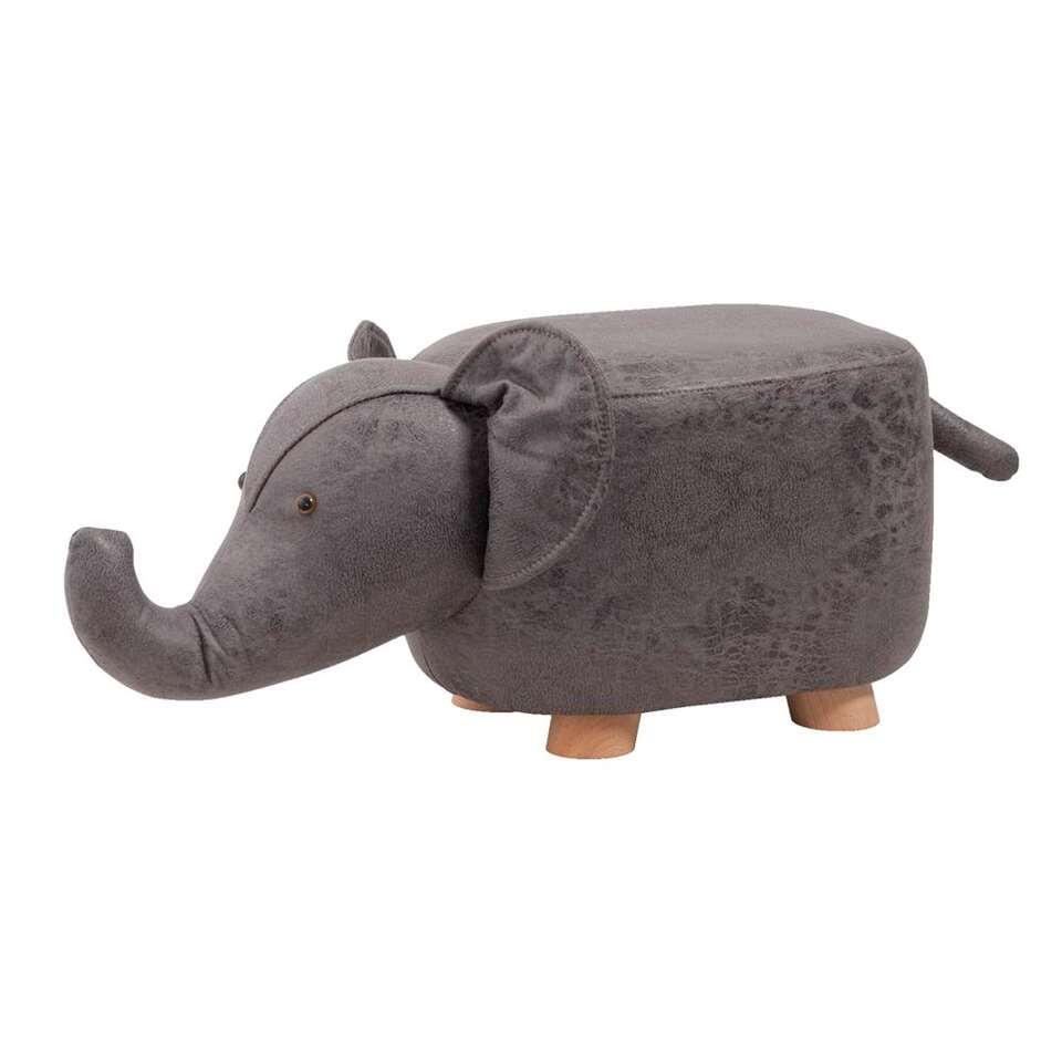 Kruk Olifant – grijs – 56x25x25 cm – Leen Bakker