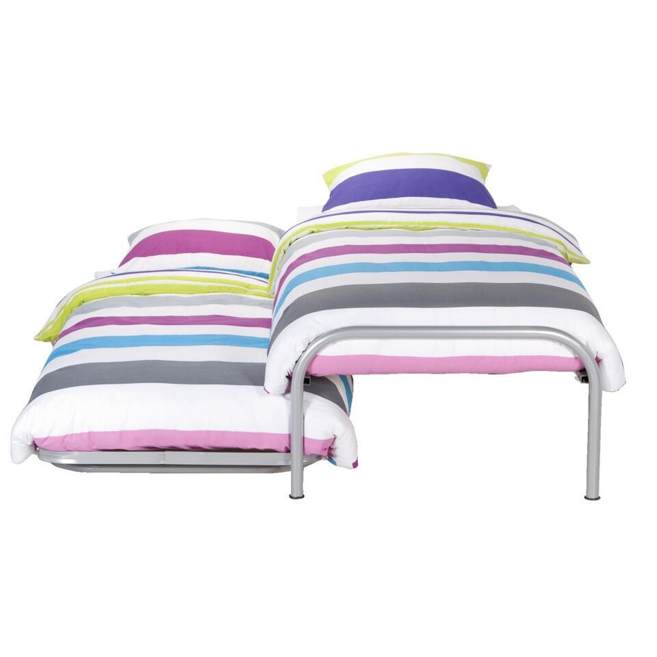 Bed Pascal (incl. onderschuifbed) - aluminiumkleur - 90x200 cm
