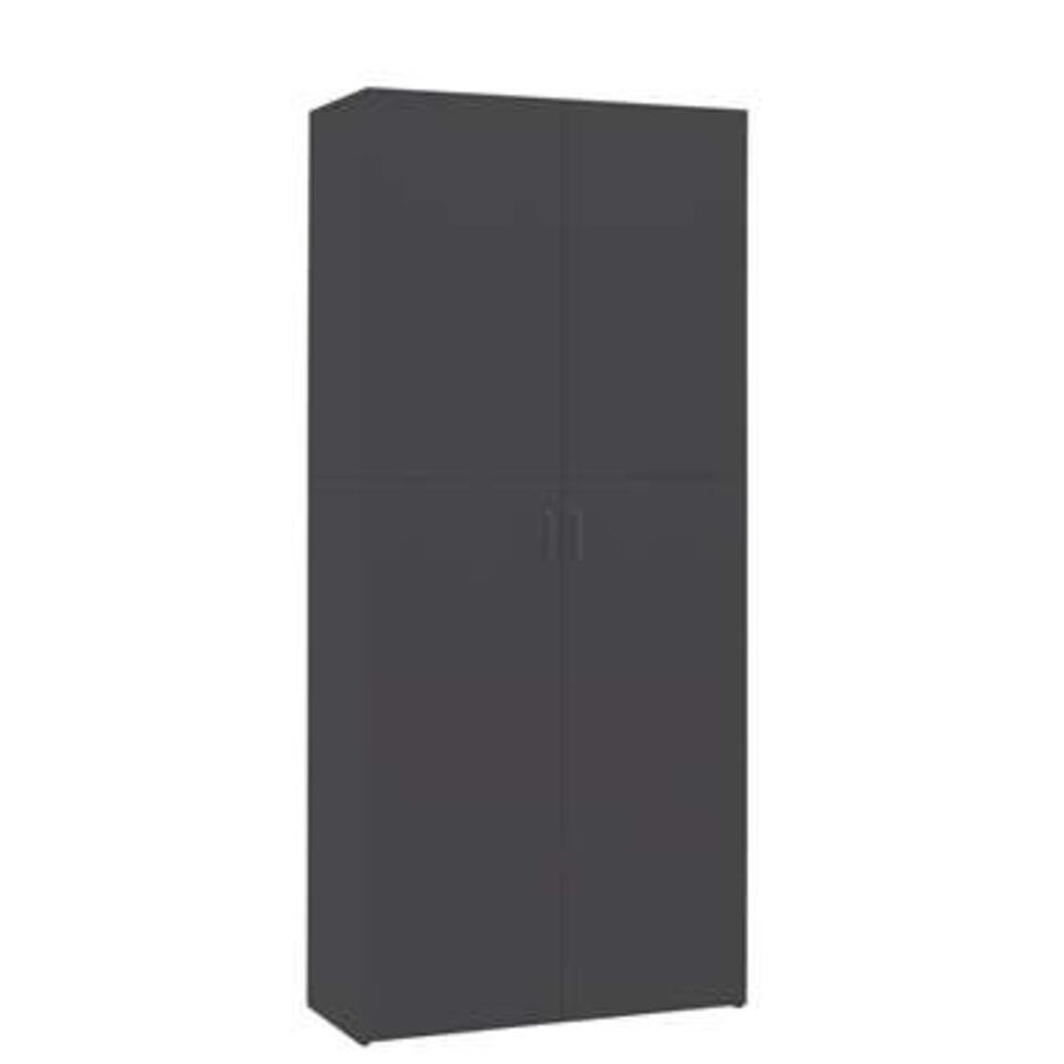 VIDAXL - Schoenenkast - 80x35,5x180 cm - spaanplaat - grijs