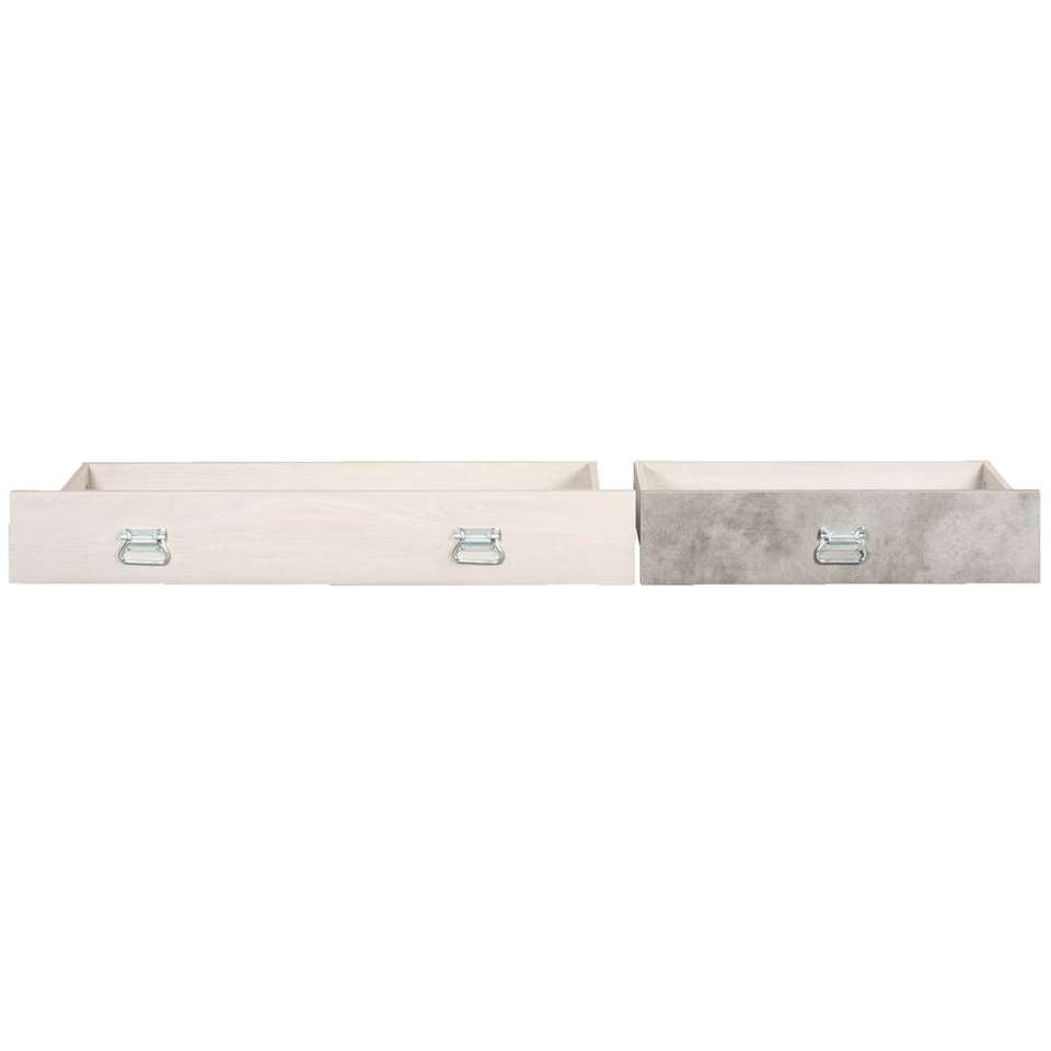 Opberglades Jip – grijs eikenkeur – 20x199x43 cm (2 stuks) – Leen Bakker