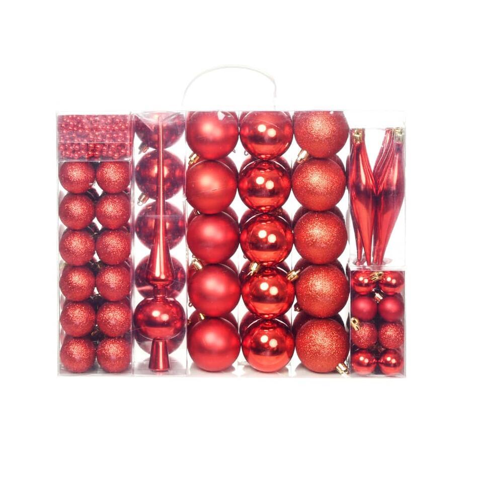 vidaXL Kerstballenset - 6 cm - rood - 113-delig
