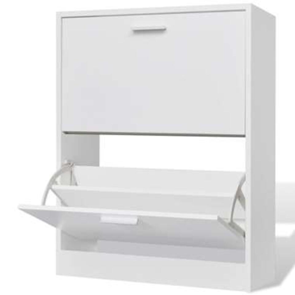 VIDAXL Schoenenkast - met 2 vakken - hout - wit