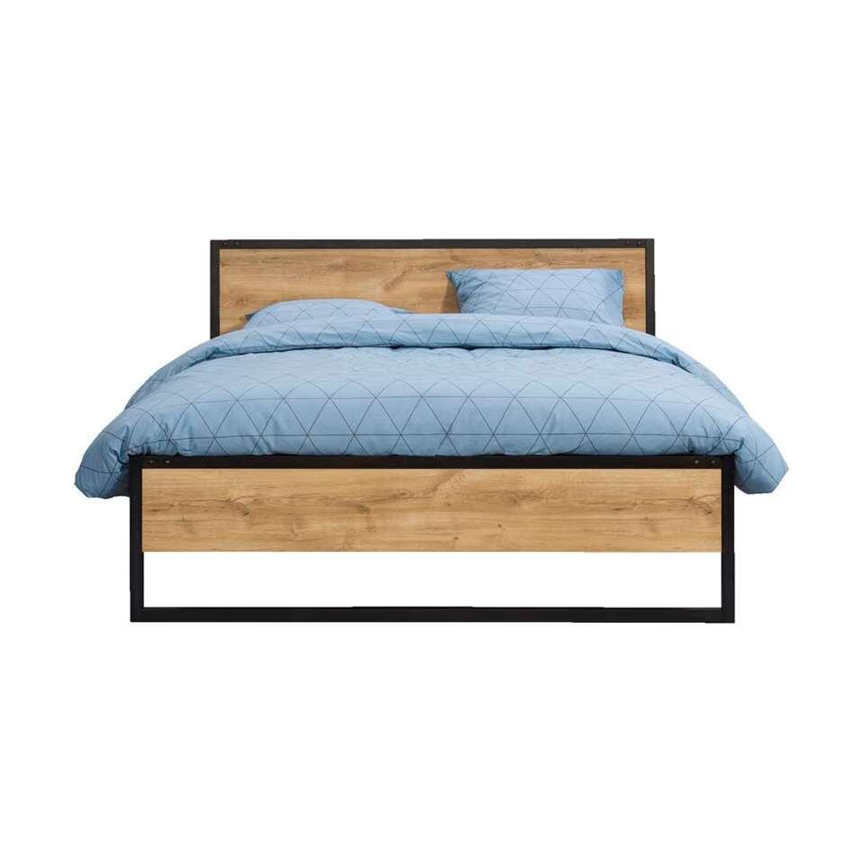 Tweepersoonsbed 180x200 Cm.Bed Detroit Eikenkleur Grafiet 180x200 Cm