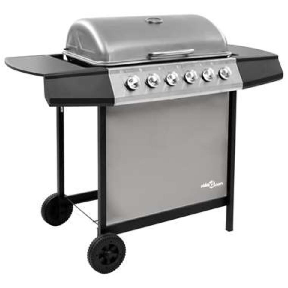 vidaXL Gasbarbecue met 6 branders - zwart en zilverkleurig