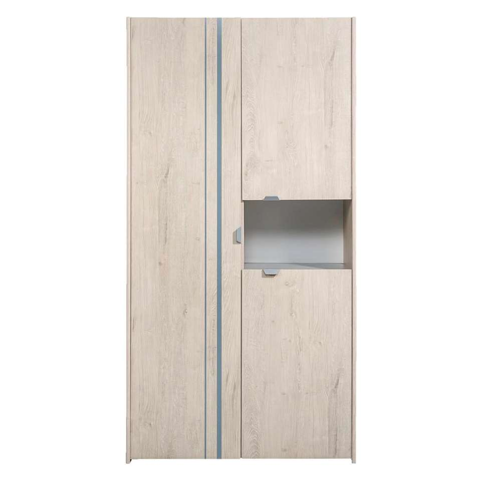 Kledingkast Levi 3-deurs - grijs eikenkleur - 191x98x56 cm - Leen Bakker