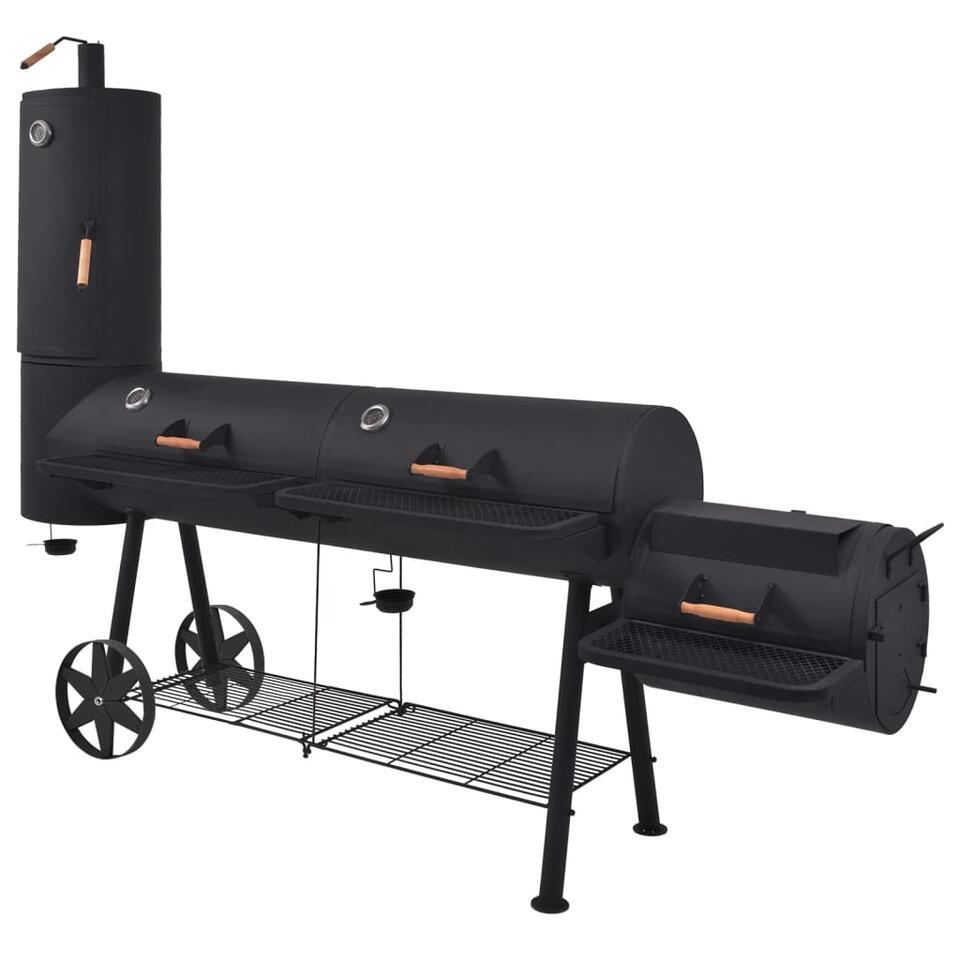 vidaXL Houtskoolbarbecue met onderplank XXXL - zwart