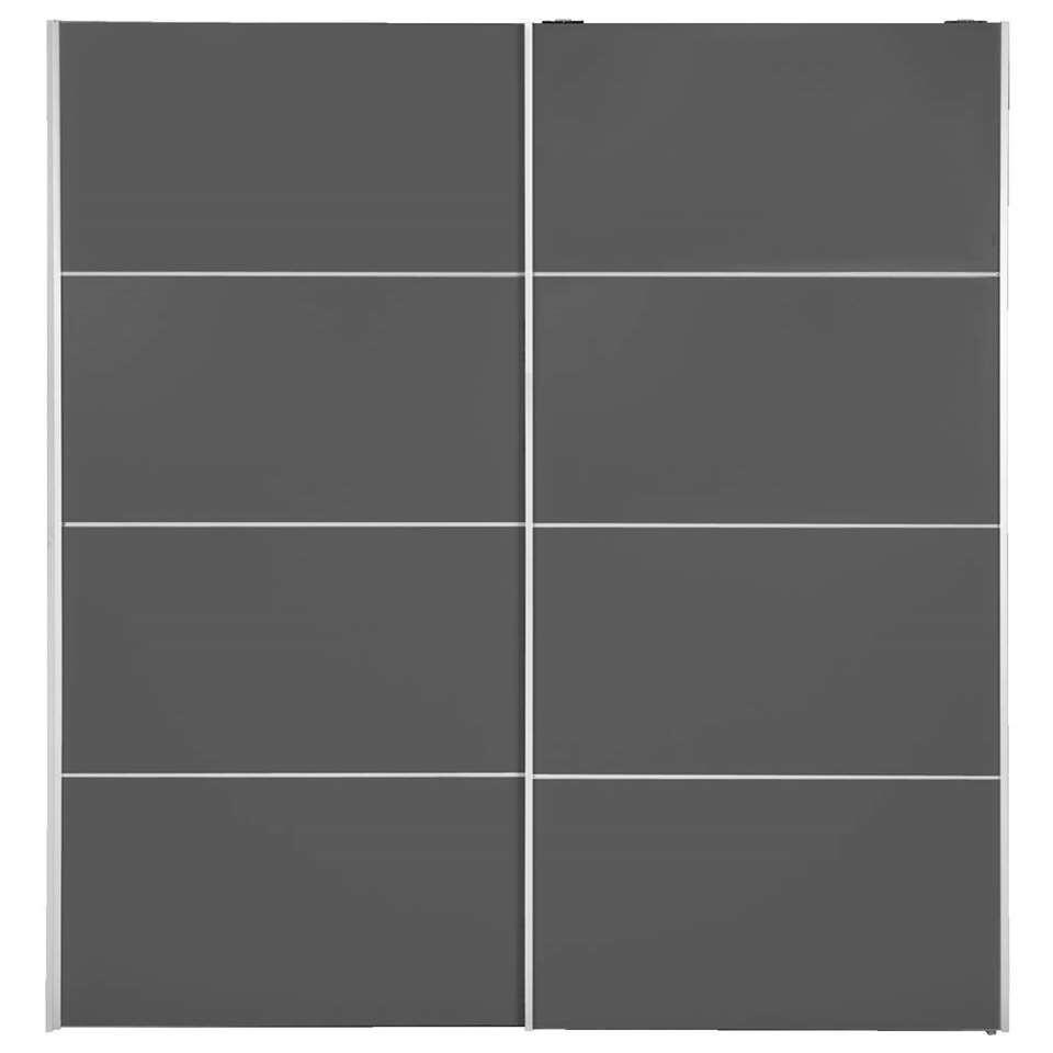 Schuifdeurkast Verona - donkergrijs - 200x182x64 cm - Leen Bakker