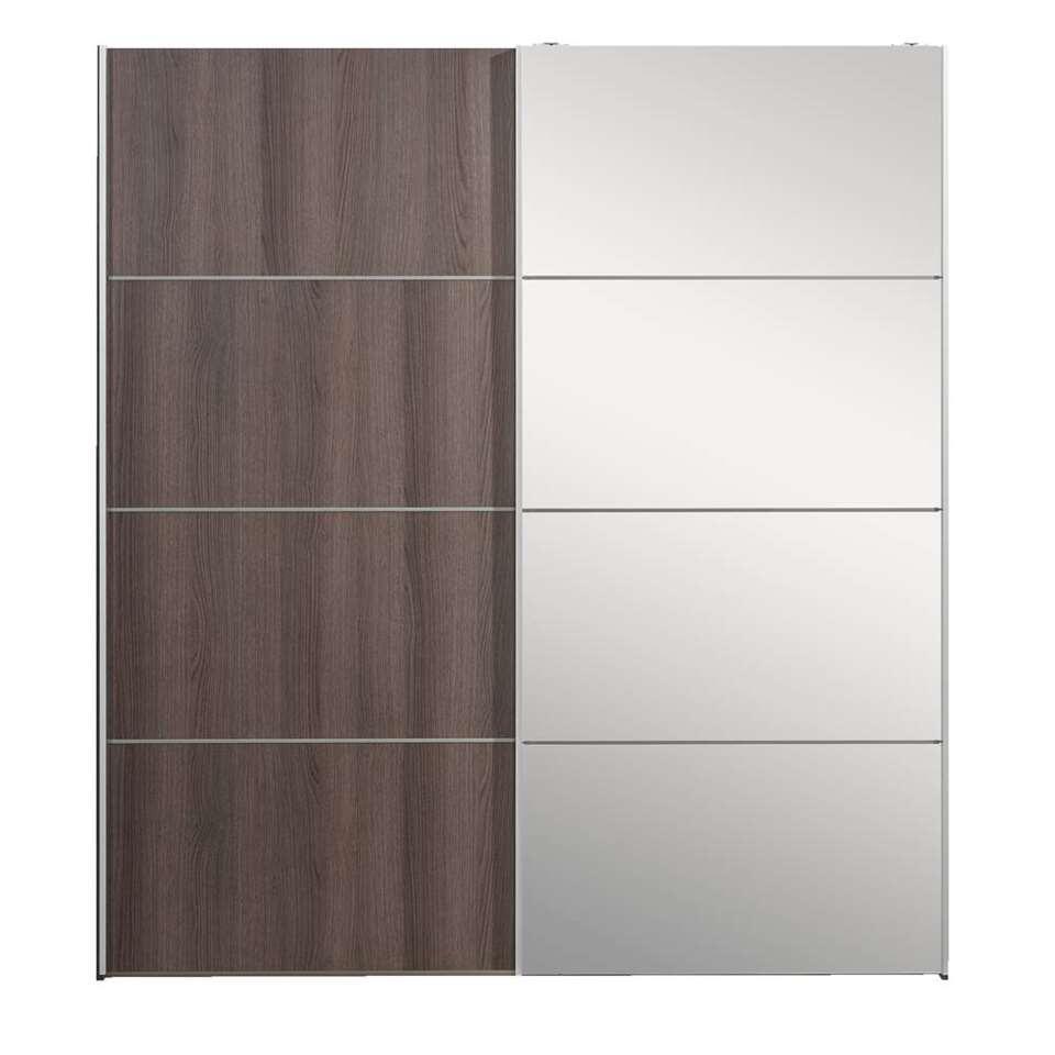 Zweefdeurkast Verona grijs eiken spiegel goedkoopst Leen Bakker