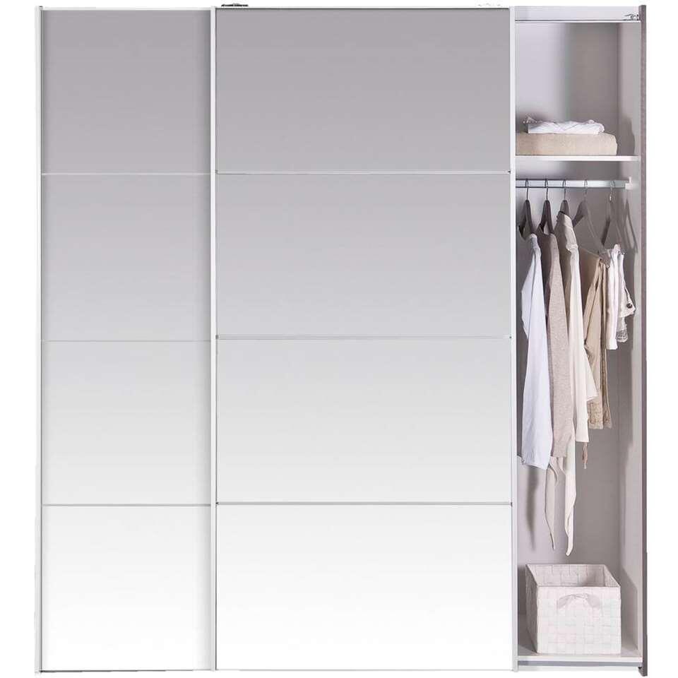 Schuifdeurkast Verona - grijs eiken/spiegel - 200x182x64 cm