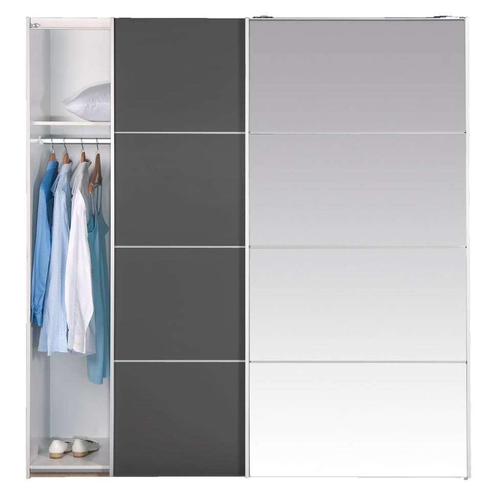 Schuifdeurkast Verona - donkergrijs/spiegel - 200x182x64 cm - Leen Bakker