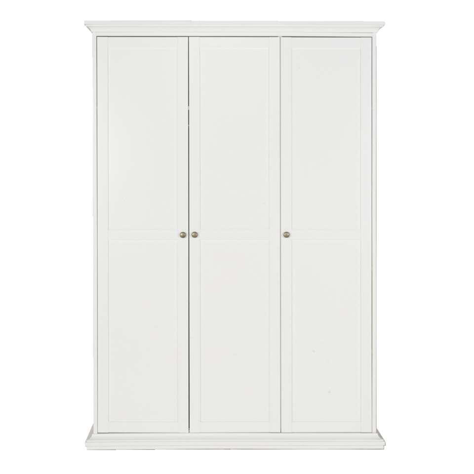 Kledingkast Fleur 3-deurs - wit - 201x139x61 cm - Leen Bakker