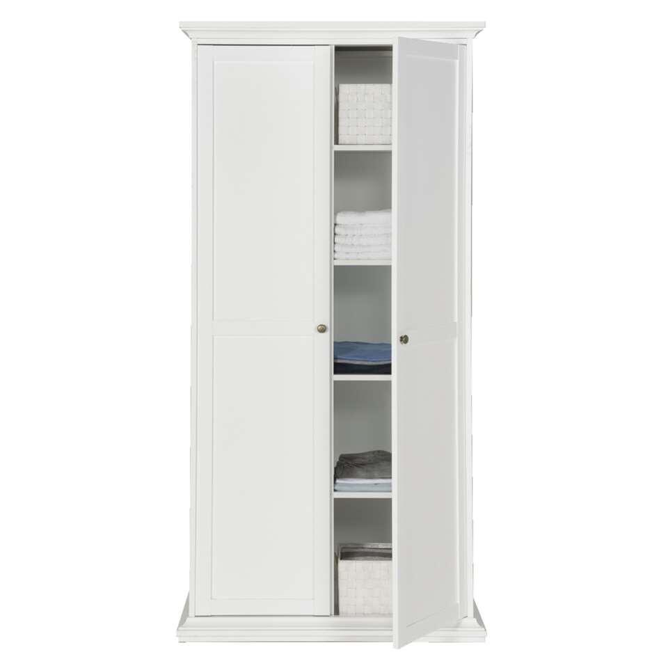 Kledingkast fleur 2 deurs wit 201x96x61 cm for Kledingkasten outlet