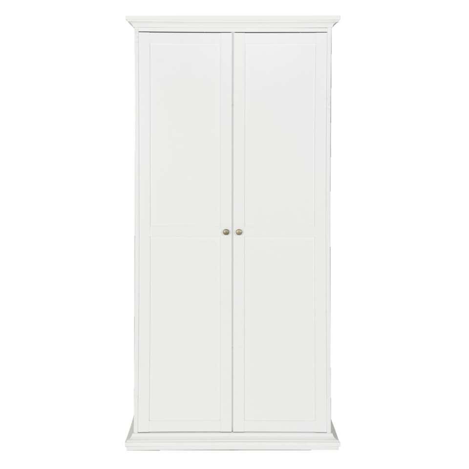 Kledingkast Fleur 2-deurs - wit - 201x96x61 cm - Leen Bakker
