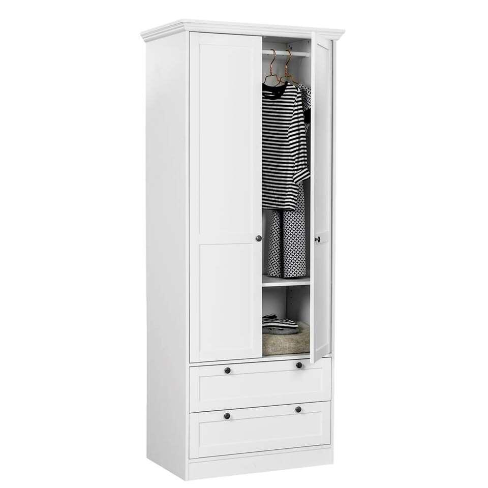 Kledingkast vera 2 deurs wit 200x80x51 cm for Kledingkasten outlet
