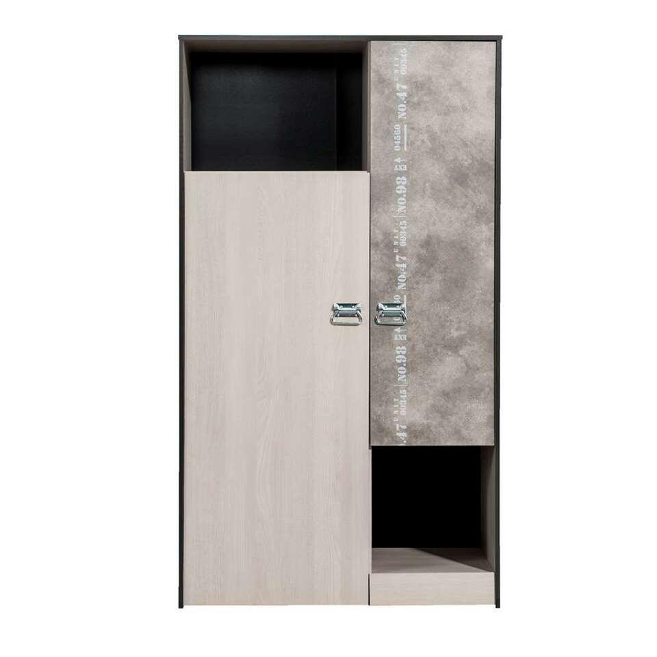 Kledingkast Jip - grijs eikenkleur - 182x102x50 cm - Leen Bakker