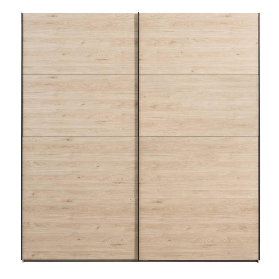 Schuifdeurkast Lausanne - eikenkleur - 236x225x65 - Leen Bakker