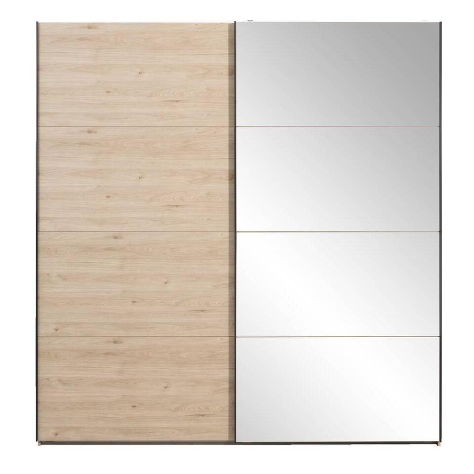 Schuifdeurkast Lausanne - eikenkleur/spiegel - 236x225 cm - Leen Bakker