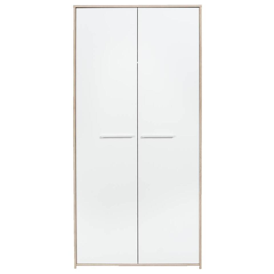Kledingkast Oslo - eikenkleur/wit - 187x91x52 cm - Leen Bakker