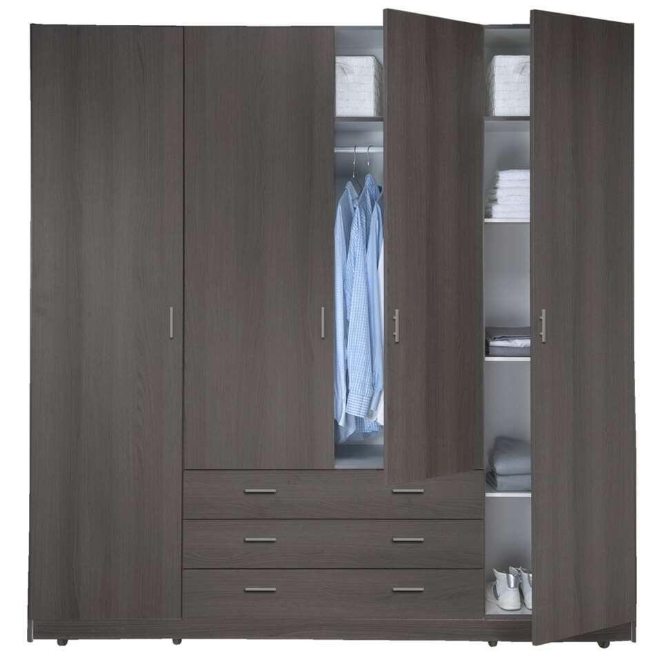 Kledingkast Sprint 4-deurs - grijs eiken - 200x198x51 cm