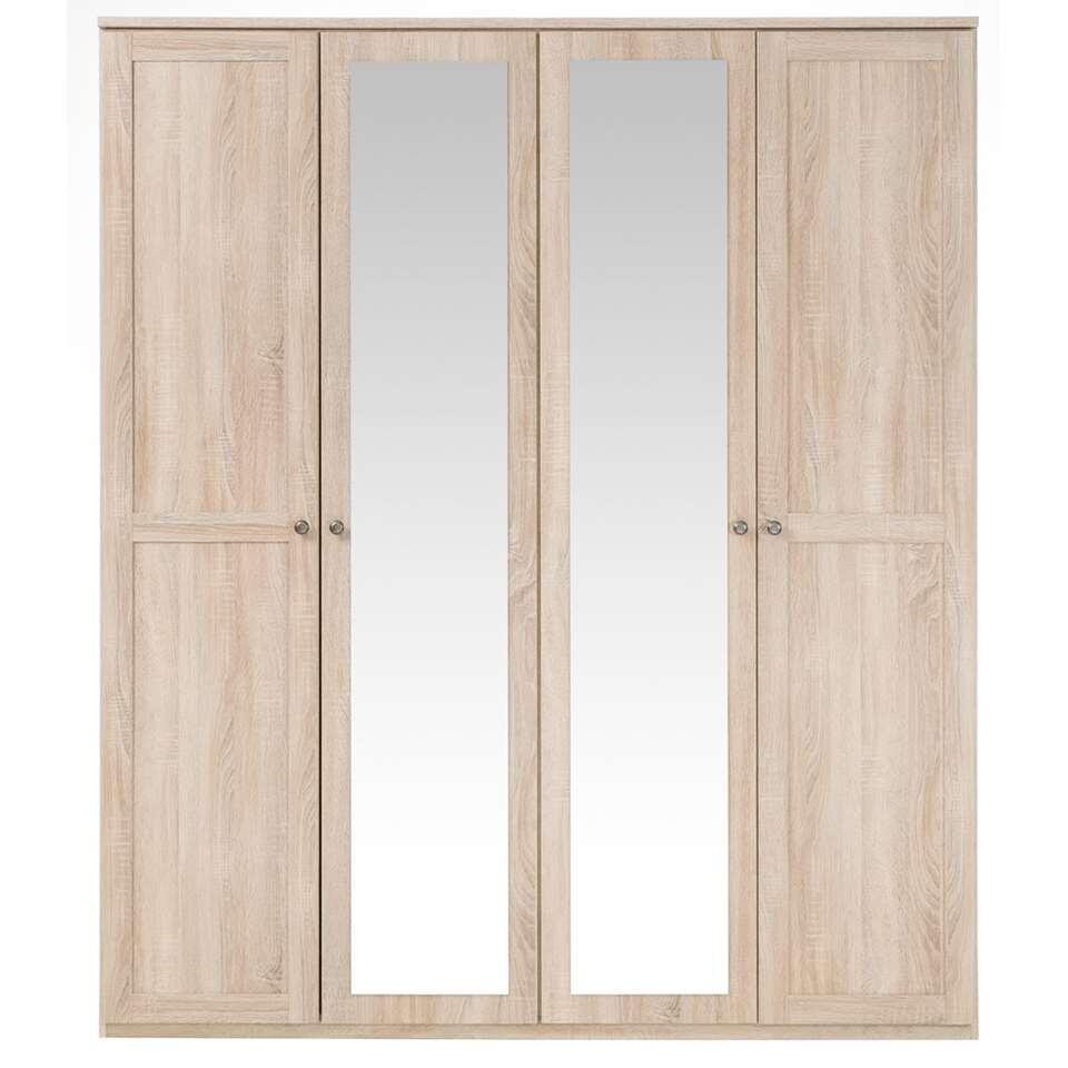 Kledingkast Geneve 4-deurs - eikenkleur - 210x180x58 cm - Leen Bakker
