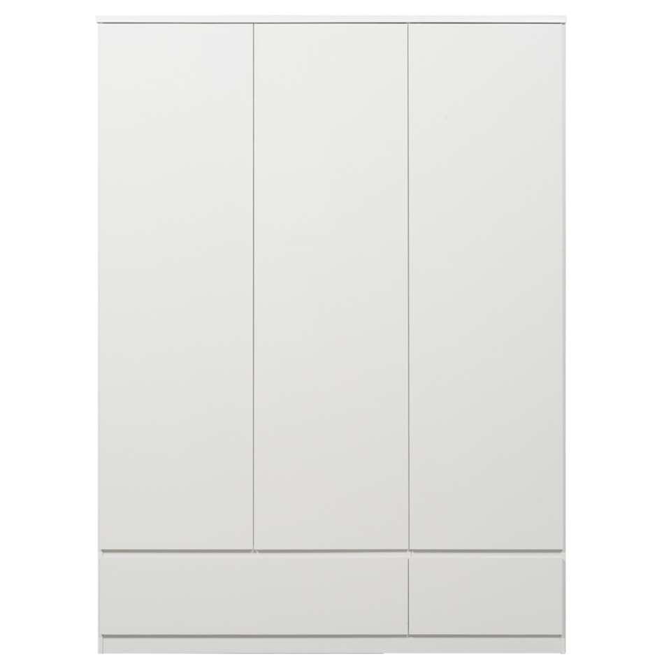 Kledingkast Naia 3-deurs - hoogglans wit - 200,6x147,4x50 cm - Leen Bakker