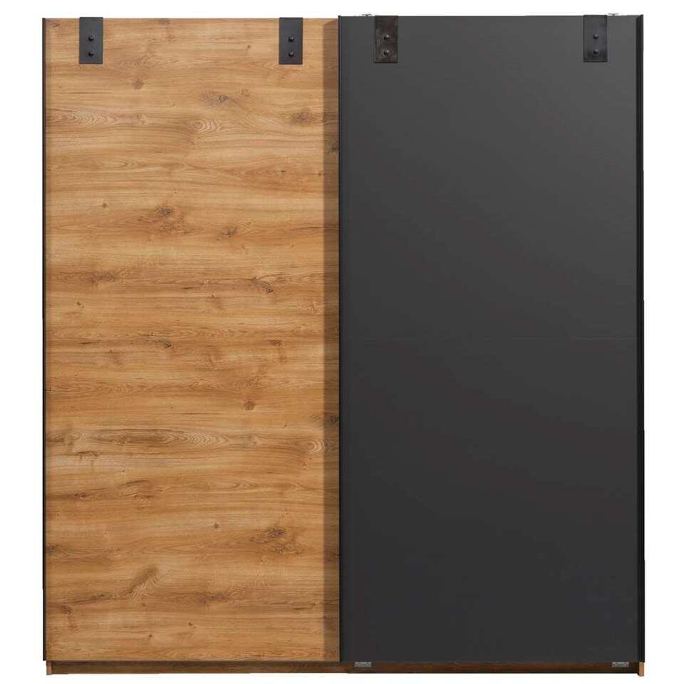 Schuifdeurkast Dex - eikenkleur/grafiet - 198x180x64 cm