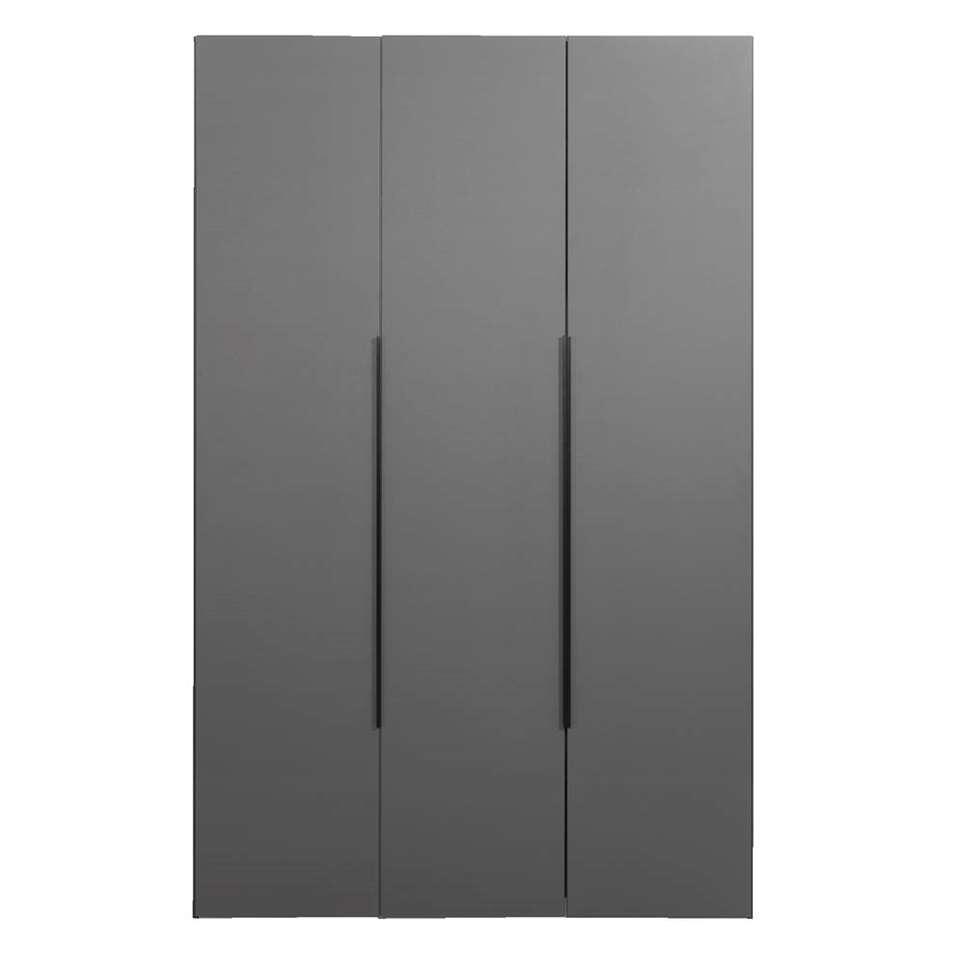 Kledingkast Tirana 3-deurs - antraciet - 236x150x58 cm - Leen Bakker