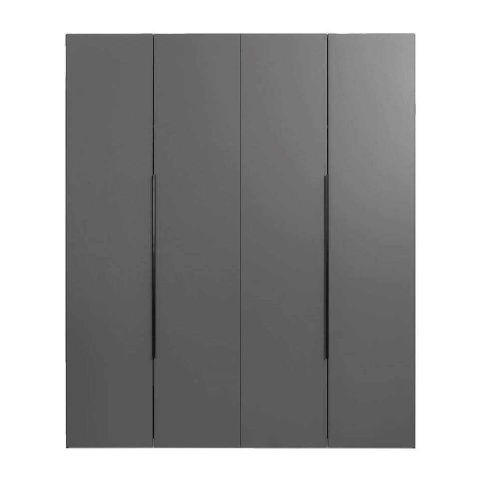 Kledingkast Tirana 4-deurs - antraciet - 236x200x58 cm - Leen Bakker