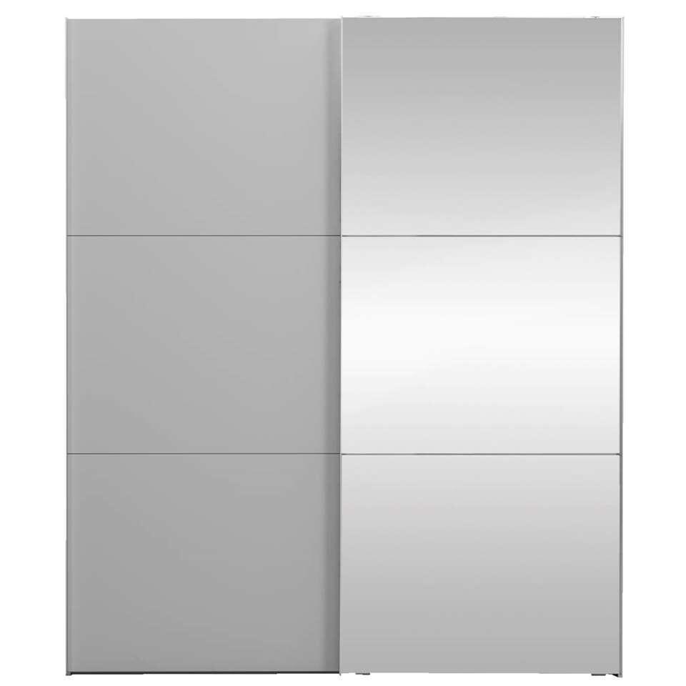 Schuifdeurkast Ankara - lichtgrijs/spiegel - 236x200x68 cm - Leen Bakker