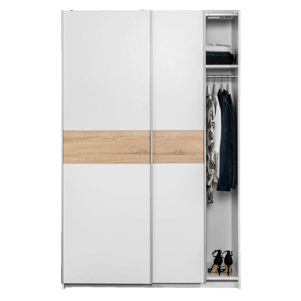 Schuifdeurkast reims wit eiken 195x125x60 cm for Kledingkasten outlet
