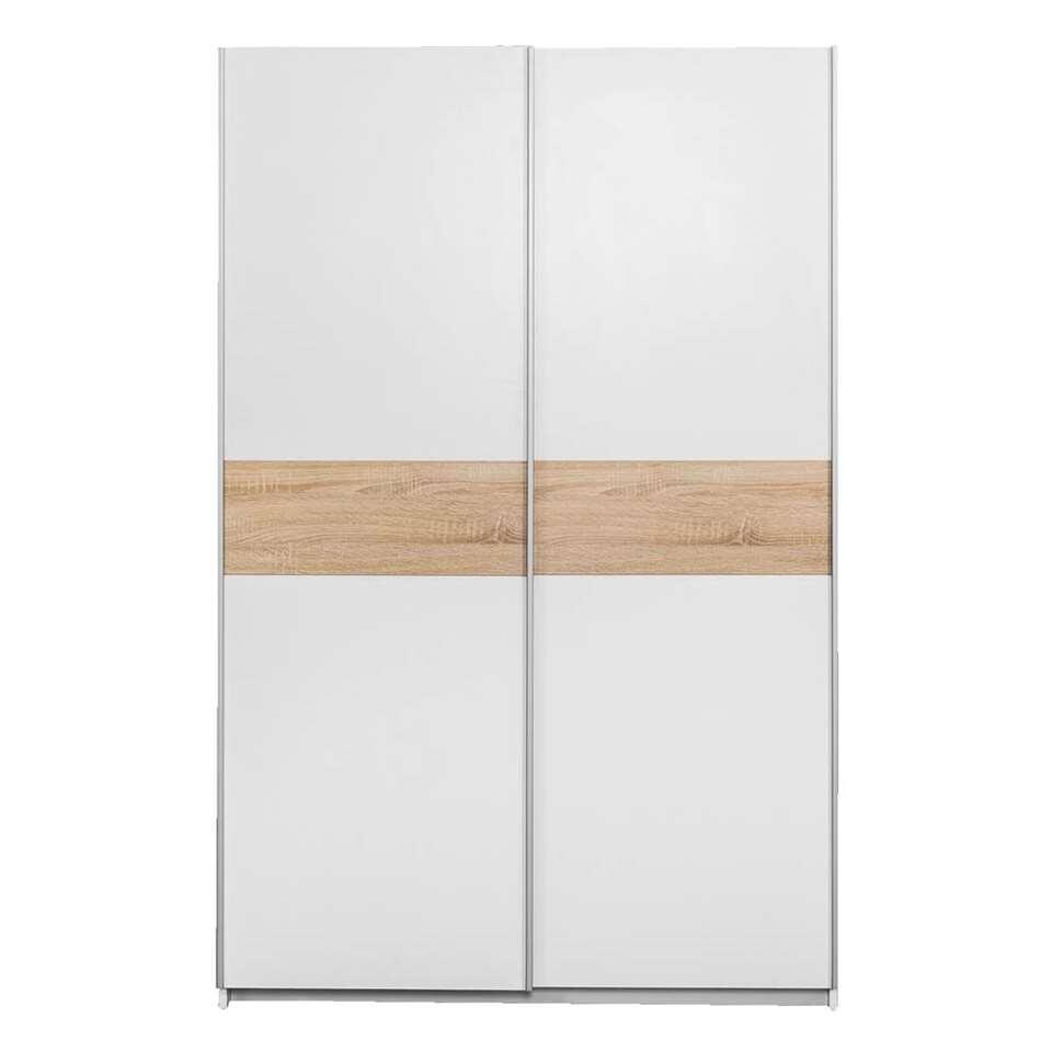Schuifdeurkast Reims - wit/eiken - 195x125x60 cm - Leen Bakker