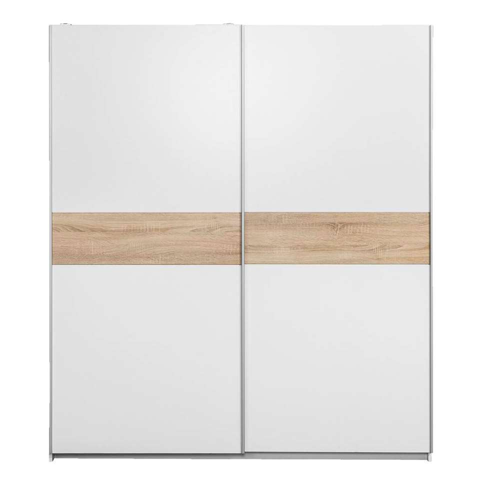 Schuifdeurkast Reims – wit/eiken – 210x215x63 cm – Leen Bakker