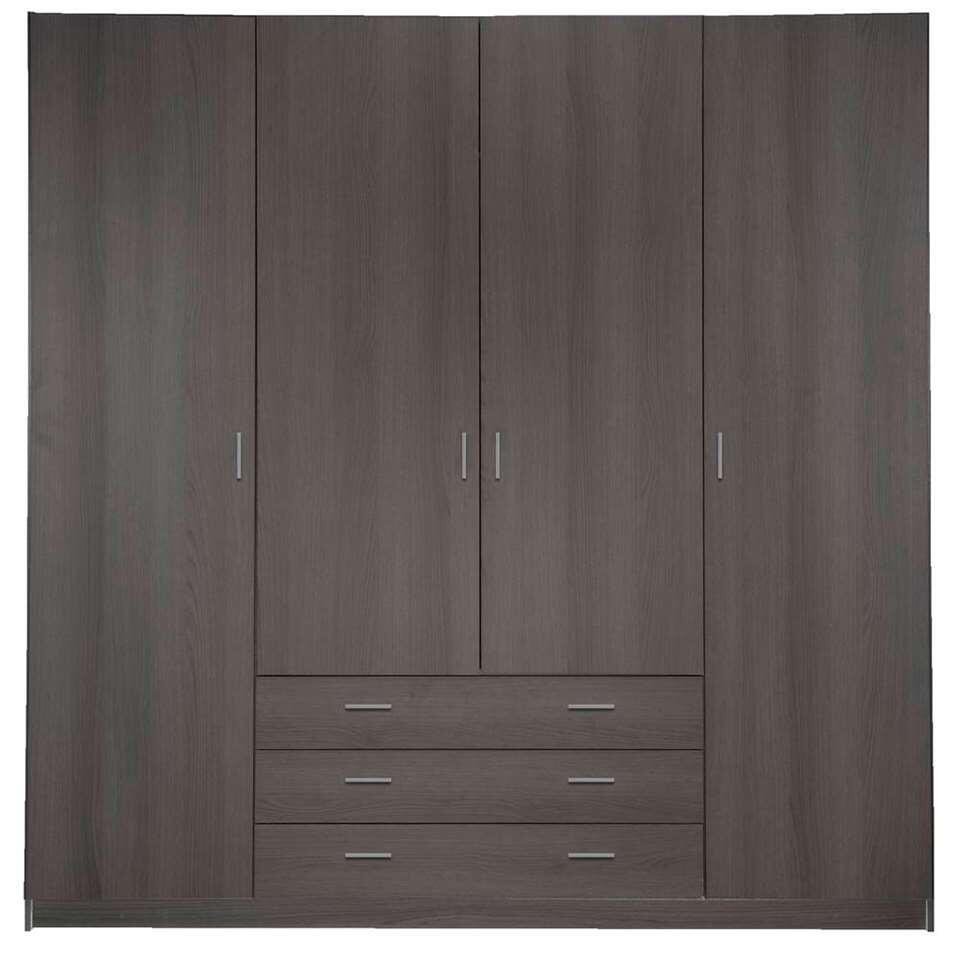 Kledingkast Sprint 4-deurs - grijs eiken - 200x196x50 cm - Leen Bakker
