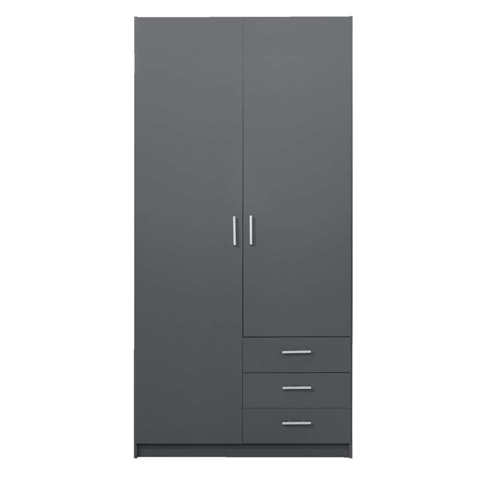 Kledingkast Sprint 2-deurs - donkergrijs - 200x98,5x50 cm - Leen Bakker