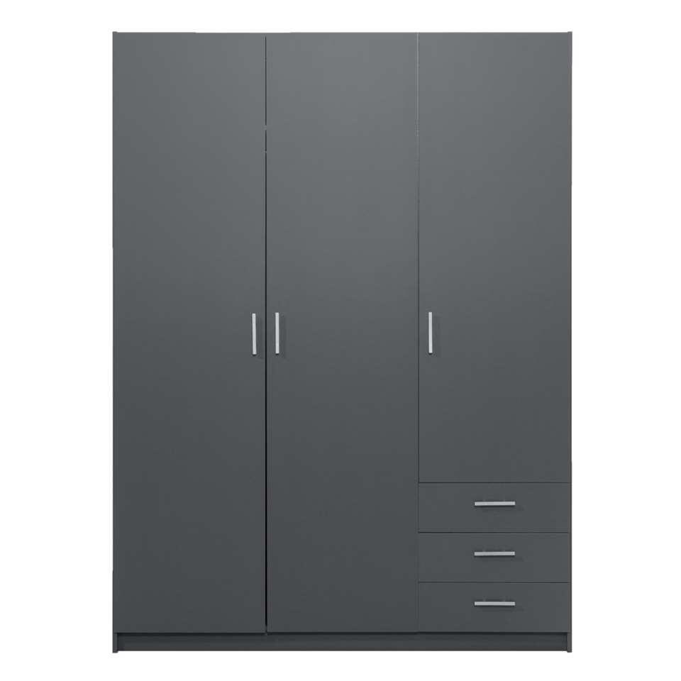 Kledingkast Sprint 3-deurs - donkergrijs - 200x147x50 cm