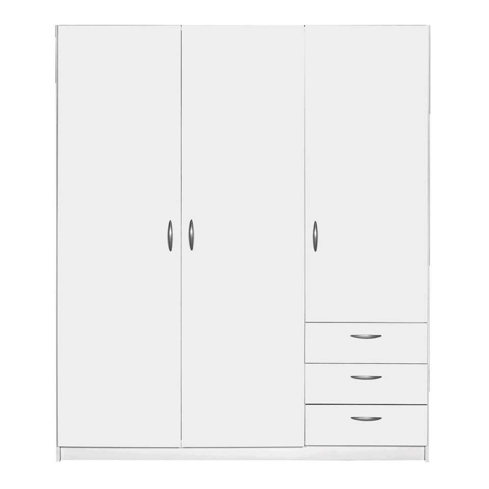 Kledingkast Varia 3-deurs - wit - 175x147x49,5 cm - Leen Bakker