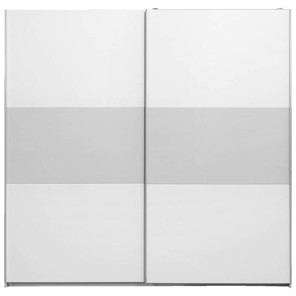 Schuifdeurkast Napoli wit/grijs softclose - 210x215x60 cm