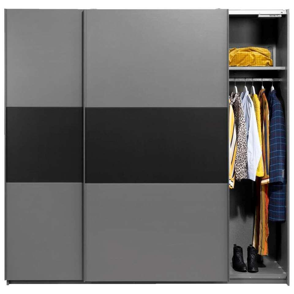 Schuifdeurkast Napoli antraciet/zwart softclose - 210x215x60 cm