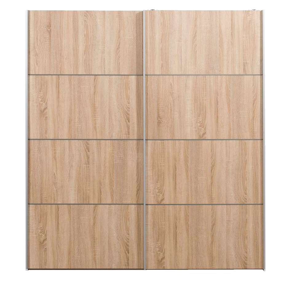 Schuifdeurkast Verona wit - eikenkleur - 200x182x64 cm