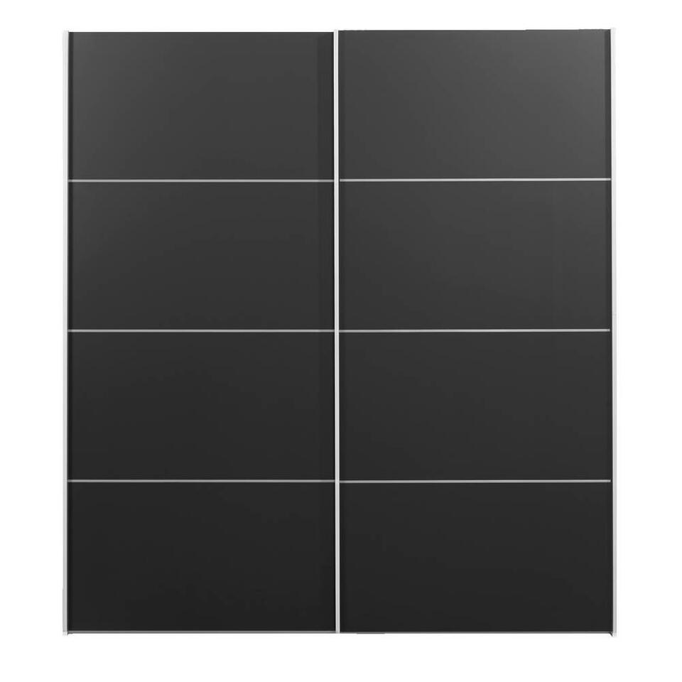 Schuifdeurkast Verona wit - zwart - 200x182x64 cm - Leen Bakker