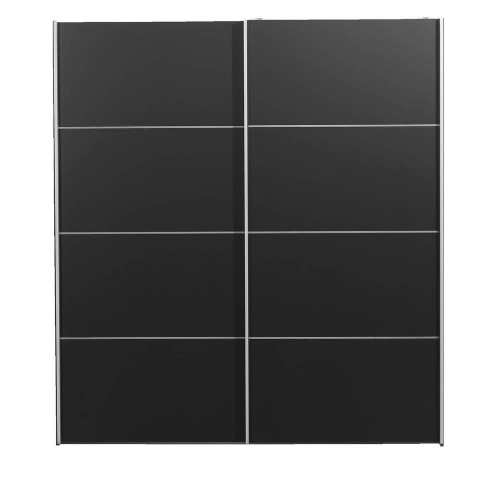 Schuifdeurkast Verona antraciet - zwart - 200x182x64 cm - Leen Bakker
